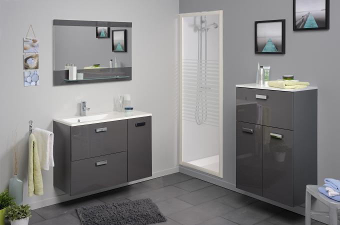 Colonne de salle de bain finition laqu e gris sun 60 cm - Finition de salle de bain ...