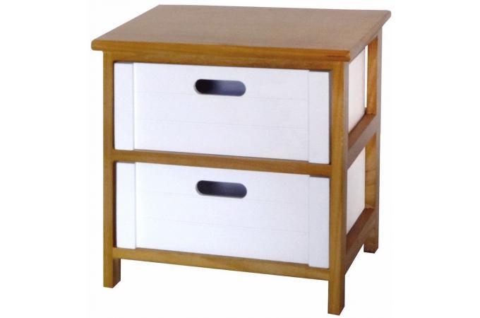 commode bois et blanc 2 tiroirs rockie design pas cher sur sofactory. Black Bedroom Furniture Sets. Home Design Ideas