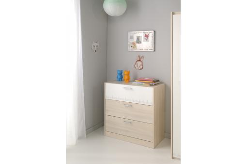 Commode 3 Tiroirs Pour Chambre Enfant Acacia Clair CHARLES