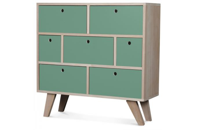 Commode 7 Tiroirs Bois Vert Clair MONTREAL SoFactory