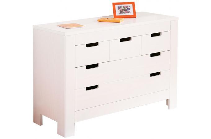 Commode à 5 tiroirs 106 x 43 CM Blanche BALTHASAR design sur SoFactory