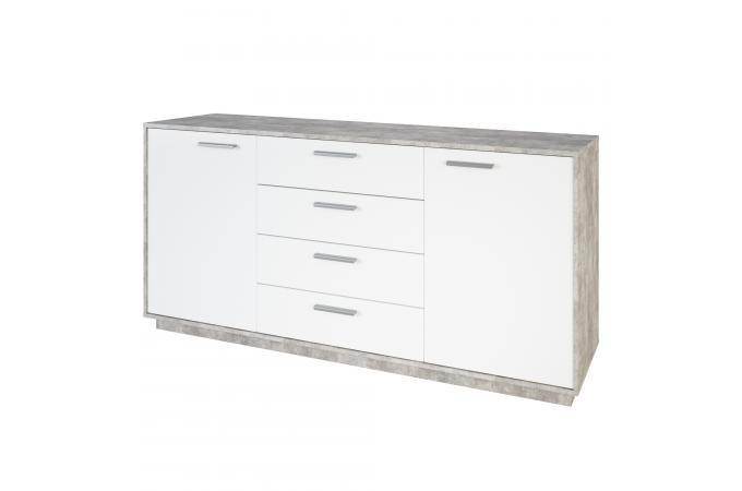 Commode Allongee 2 Portes 4 Tiroirs Gris Blanc Galveston Design Sur