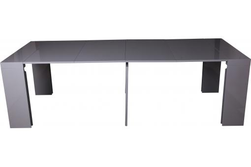 Console extensible grise 250cm laque marlene design sur for Table console extensible grise