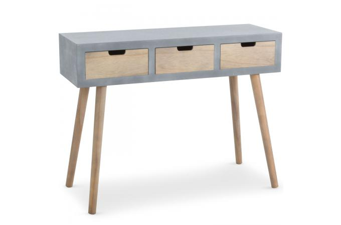 console grise et bois 3 tiroirs eloisa design sur sofactory. Black Bedroom Furniture Sets. Home Design Ideas