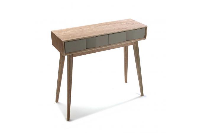 console scandinave bois 2 tiroirs asphalte design sur sofactory. Black Bedroom Furniture Sets. Home Design Ideas