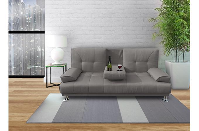 Canapé Convertible Places Tissu Gris BYZANCE Design Sur SoFactory - Canapé 3 places pour cours de décoration d intérieur