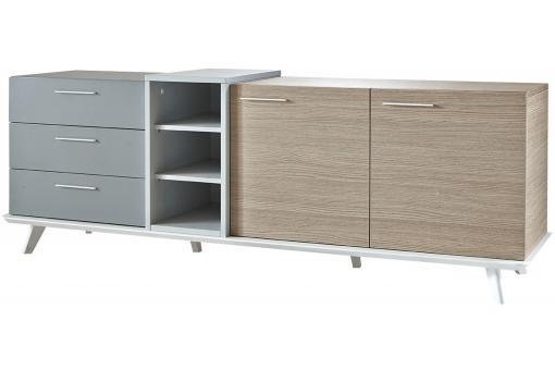 enfilade 2 portes et 3 tiroirs avec 2 niches enzo design pas cher sur sofactory. Black Bedroom Furniture Sets. Home Design Ideas