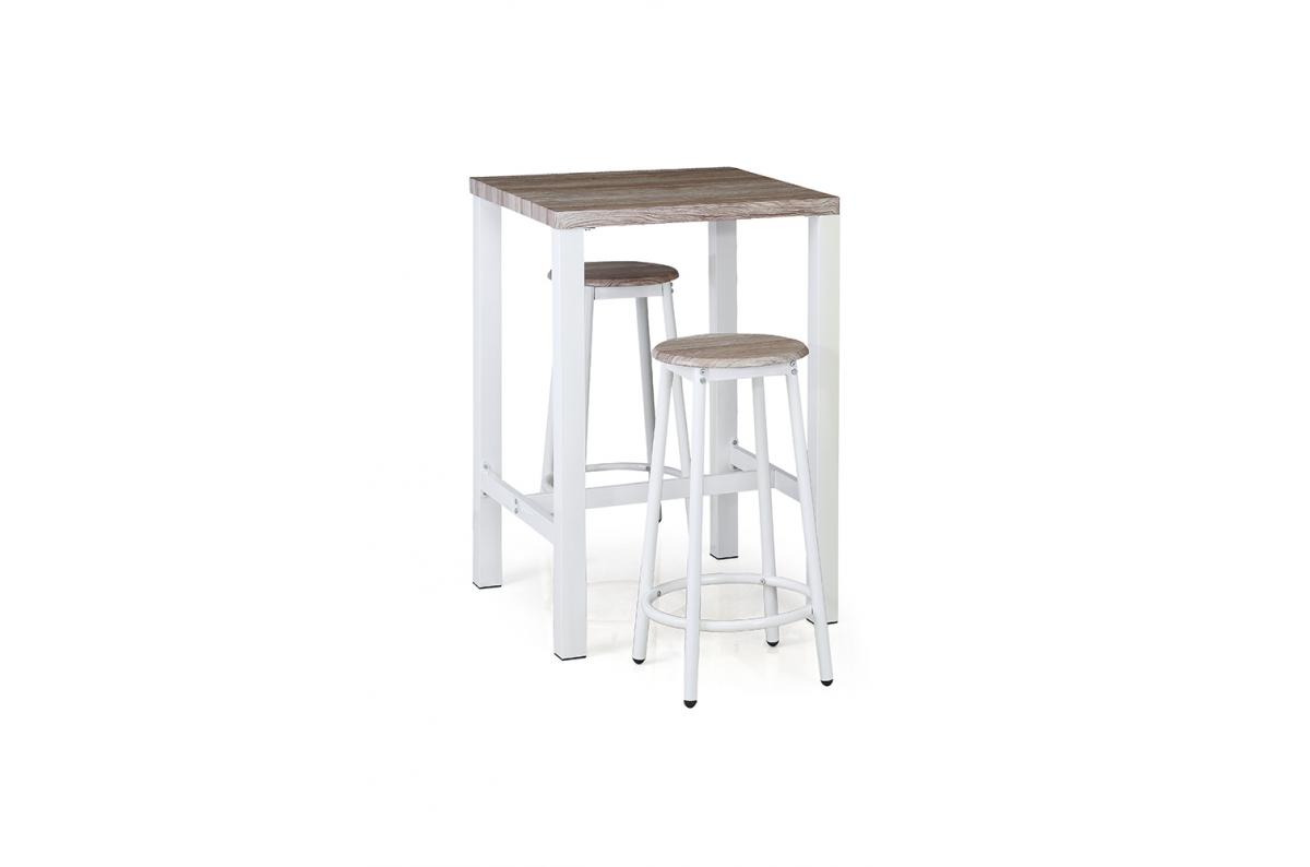 Ensemble 1 Table et 2 Tabourets de Bar Blanc TURKA SoFactory