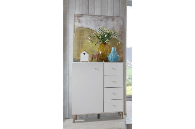 Chambre compl te blanche narberg lit 140x190 2 chevets for Chambre complete blanche