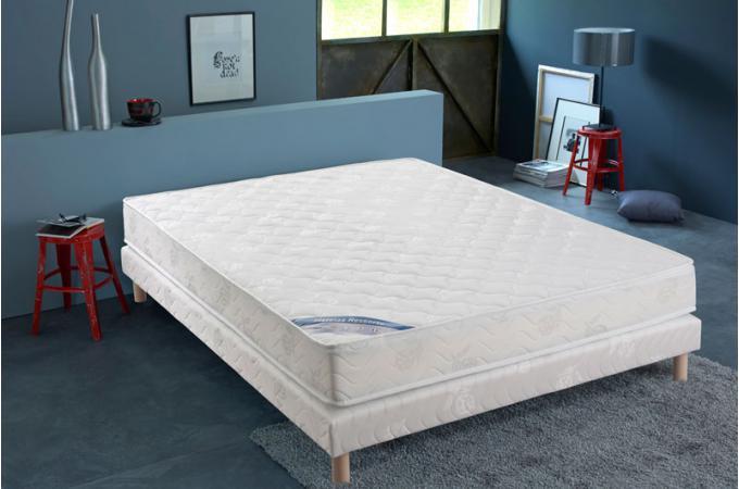 ensemble matelas ressorts biconiques h18 et sommier tapissier matelass 140x190 cm xeres design. Black Bedroom Furniture Sets. Home Design Ideas
