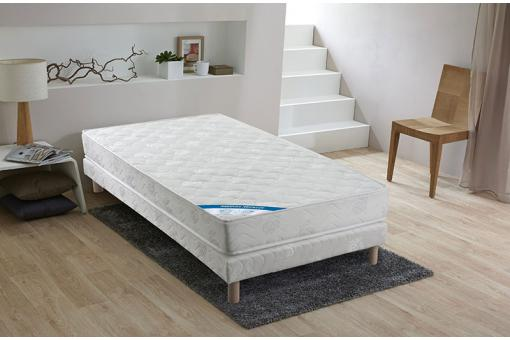 ensemble matelas ressorts biconiques h18 et sommier tapissier matelass 90x190 cm xeres design. Black Bedroom Furniture Sets. Home Design Ideas