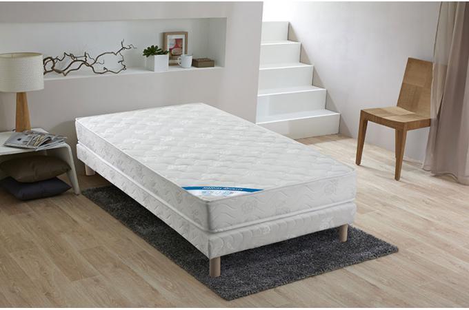 ensemble matelas ressorts biconiques h18 et sommier tapissier matelass 90x190 cm xeres design. Black Bedroom Furniture Sets. Home Design Ideas