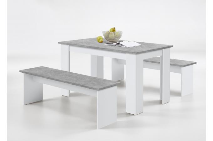 Ensemble Table 2 Bancs Gris Beton Blanc NELEYN