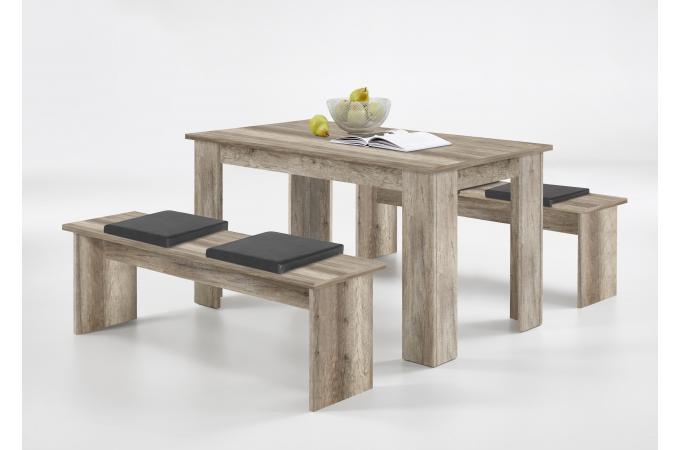 Ensemble Table + 2 Bancs Marron Bois NELEYN design sur SoFactory 43702762f61f