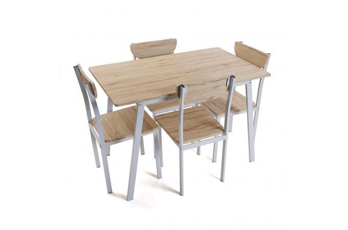 Ensemble table 4 chaises bois falbala design sur sofactory for Ensemble table 4 chaises