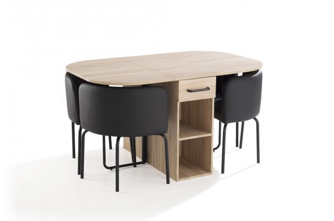 Ensemble Table 4 Chaises Bois Noir DANLI