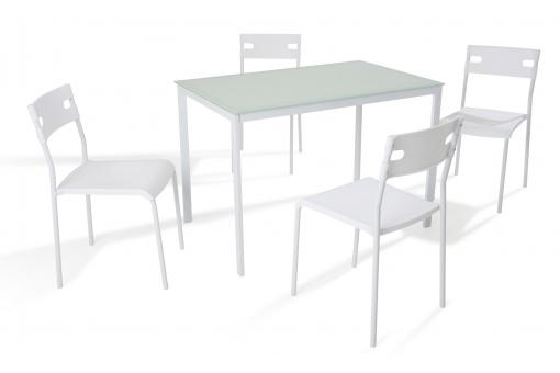 Ensemble Table + 4 Chaises Verre Blanc MALDONADA SoFactory