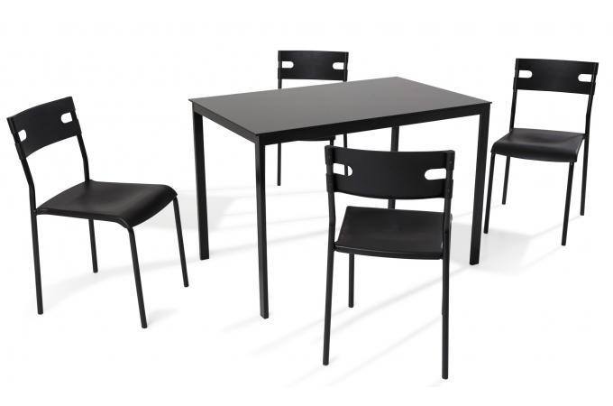 Ensemble Table + 4 Chaises Verre Noir MALDONADA design sur SoFactory