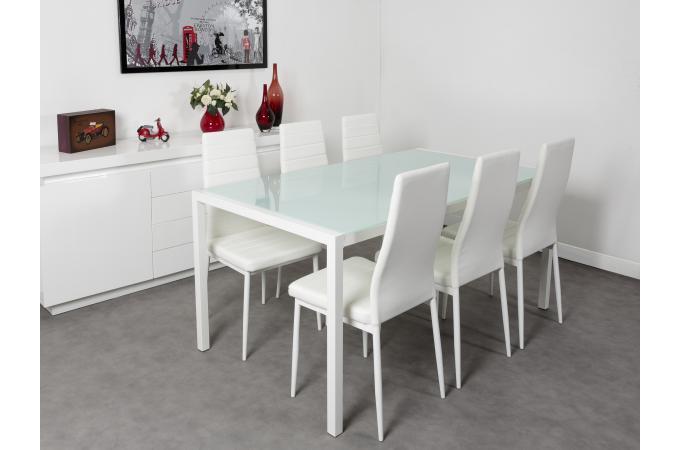 Ensemble table et 6 chaises blanches touriste design pas - Table et chaises blanches ...
