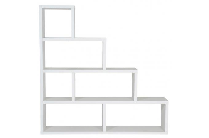 Etag re escalier 6 compartiments stairway blanc design sur - Etagere escalier blanc ...