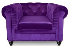 Fauteuil 1 place velours violet CITY