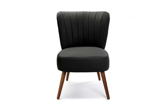 Fauteuil Crapaud Simili Noir BRANDY Design Sur SoFactory - Fauteuil crapaud cuir noir