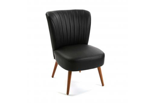 fauteuil crapaud simili noir brandy design sur sofactory. Black Bedroom Furniture Sets. Home Design Ideas