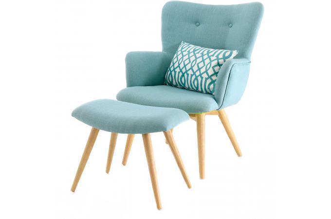 Fauteuil Et Repose Pieds Scandinaves Bleu Gail Design Sur Sofactory