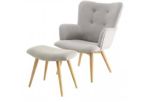 fauteuil et repose pieds scandinaves gris gail design sur sofactory. Black Bedroom Furniture Sets. Home Design Ideas