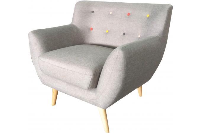 fauteuil scandinave avec boutons multicolores alicia design sur sofactory. Black Bedroom Furniture Sets. Home Design Ideas