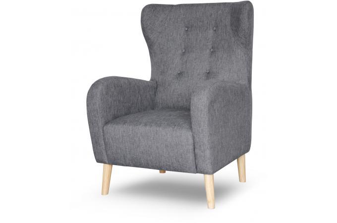 fauteuil scandinave dossier haut tissu anthracite alienor design sur sofactory. Black Bedroom Furniture Sets. Home Design Ideas