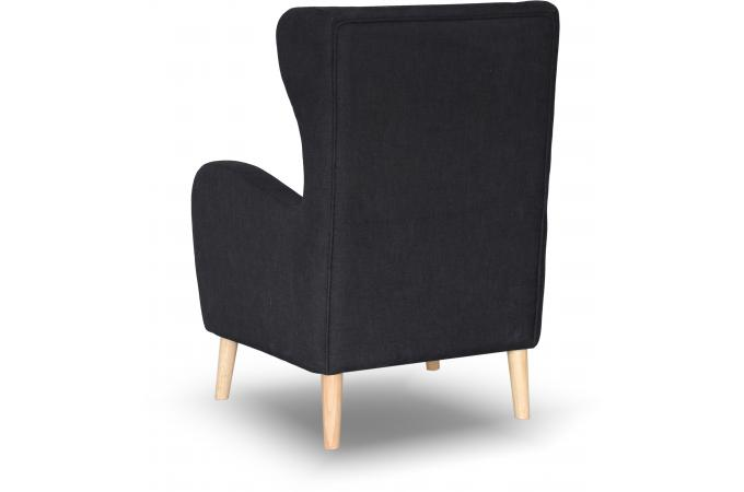 fauteuil scandinave dossier haut tissu noir alienor design sur sofactory. Black Bedroom Furniture Sets. Home Design Ideas