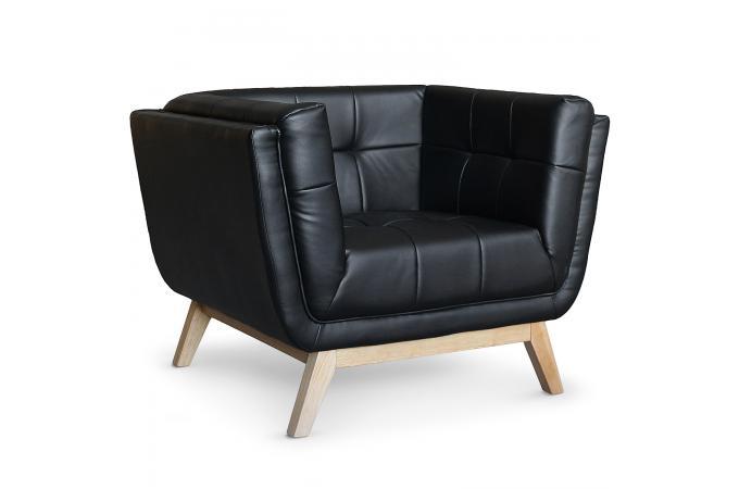 Fauteuil capitonn noir roela design pas cher sur sofactory - Fauteuil capitonne pas cher ...