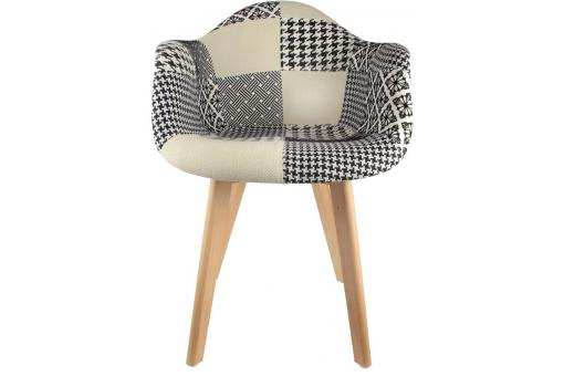 Chaise scandinave avec accoudoir patchwork bicolore norway design sur sofactory - Chaise avec accoudoir scandinave ...