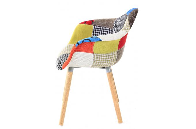 chaise scandinave avec accoudoirs patchwork forway - Chaise Scandinave Multicolore