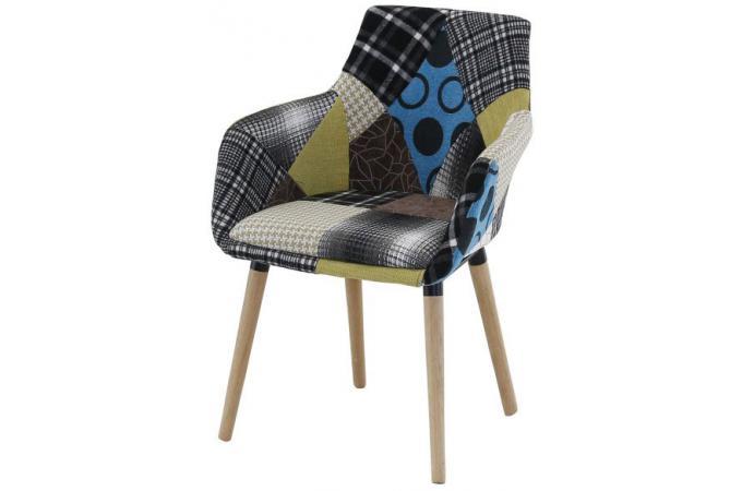 fauteuil scandinave patchwork lora - Fauteuil Scandinave Patchwork