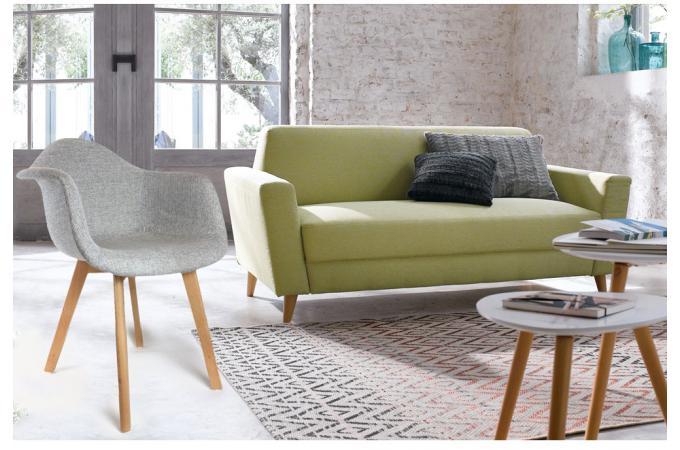 Chaise Scandinave Avec Accoudoir Tissu Gris Norway Design