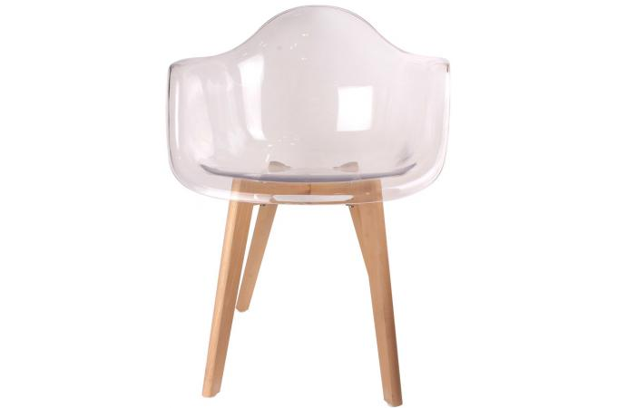Chaise scandinave avec accoudoir transparent norway design sur sofactory - Chaise transparente et bois ...