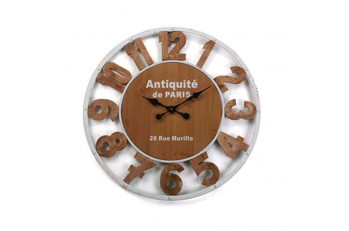 Horloge Murale Industrielle Bois Metal D80cm Mecaniks Deco Design