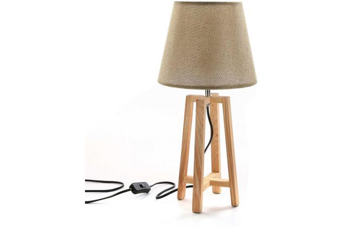 Lampe de table scandinave beige et bois parla d co for Lampe de table rona