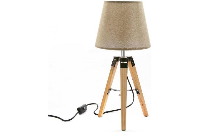 lampe de table scandinave beige et bois loma d co design sur sofactory. Black Bedroom Furniture Sets. Home Design Ideas