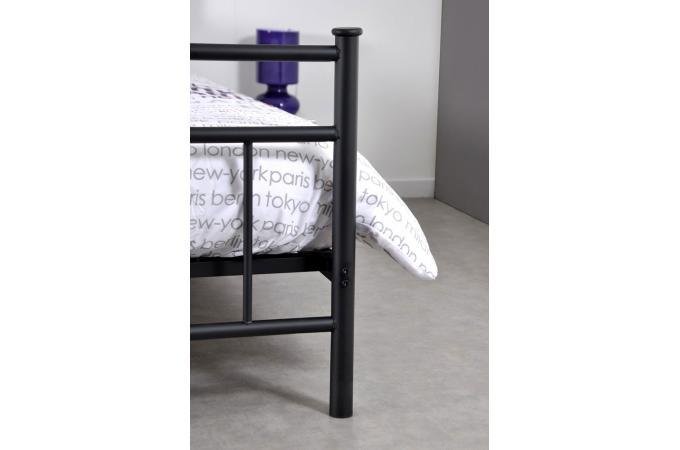 lit 1 personne en acier noir avec sommier grille 90x190 mariline design sur sofactory. Black Bedroom Furniture Sets. Home Design Ideas