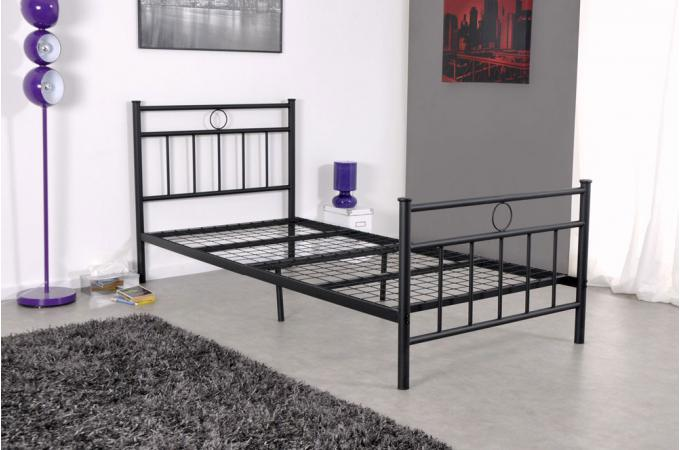lit 1 personne en acier noir avec sommier grille 90x190. Black Bedroom Furniture Sets. Home Design Ideas