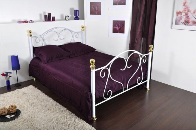 Lit romantique 140x190cm blanc suzy design pas cher sur sofactory - Lit romantique blanc ...