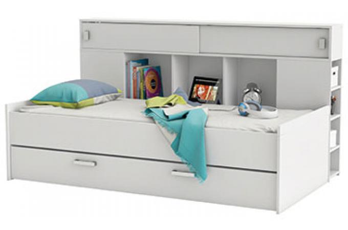 lit 90 x 200 avec rangement blanc perle shana design sur. Black Bedroom Furniture Sets. Home Design Ideas