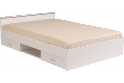 lit adulte 140x200 cm 2 tiroirs 1 niche de rangement coloris blanc lambda design sur sofactory. Black Bedroom Furniture Sets. Home Design Ideas