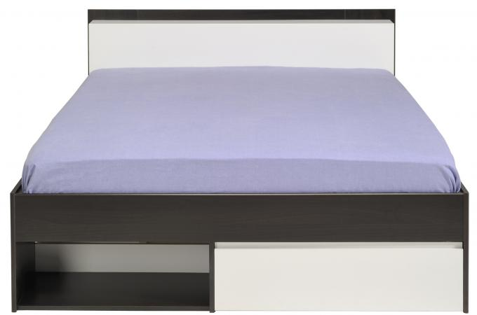 lit avec rangement 140 x 200 cm imitation noyer coloris caf dan design pas cher sur sofactory. Black Bedroom Furniture Sets. Home Design Ideas