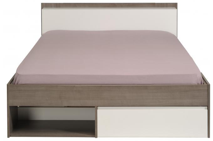 Lit avec rangement 140 x 200 cm imitation noyer silver et blanc dan design en - Lit blanc avec rangement ...