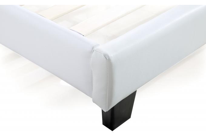 lit capitonn avec sommier blanc 140x190 elyne design sur sofactory. Black Bedroom Furniture Sets. Home Design Ideas
