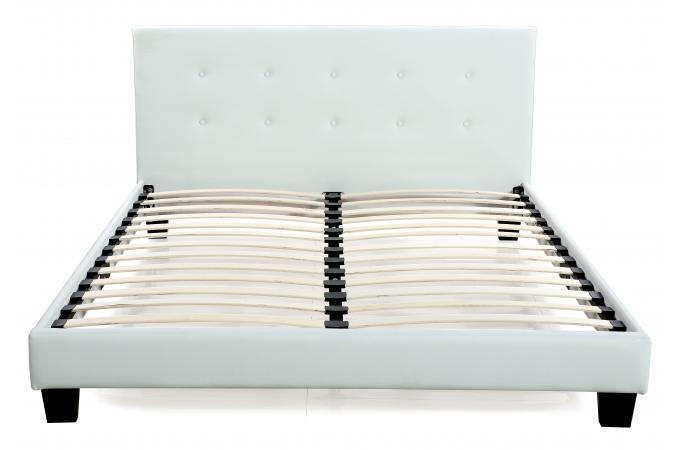 lit capitonn avec sommier blanc 160x200 elyne - Lit 160x200 Avec Sommier